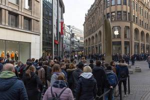 Long Line in front of Apple Store for Release of new iPhone in Cologne, Germany