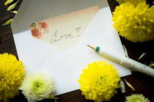 LOVE note inside an envelope