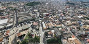 Luftaufnahme von einem Teil von Guatemala City zeigt städtisches Labyrinth
