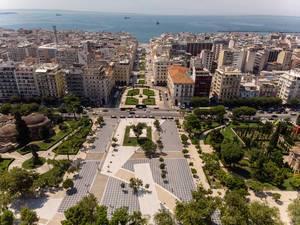 Luftbild der Parkanlage zwischen Bey Hamam und der Kirche Panagia Chalkeon