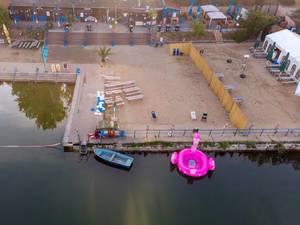 Luftbild des Strandbad Weißensee in Berlin