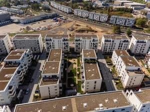 Luftbild eines Wohnblocks in Köln-Ossendorf