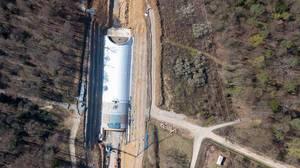 Luftbildaufnahme der Westtangenten-Baustelle bei Pforzheim