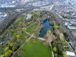 Luftbildaufnahme des Parks Volksgarten in Köln