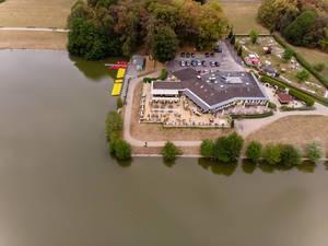 Luftbildaufnahme des Restaurants Haus am See in Köln