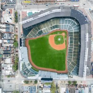 Luftbildaufnahme des Stadions Wrigley Field