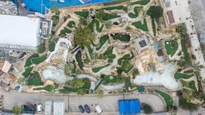 Luftbildaufnahme eines Themenparks in Magaluf, Mallorca