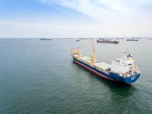Luftbildaufnahme: Frachtschiffe vor Singapur