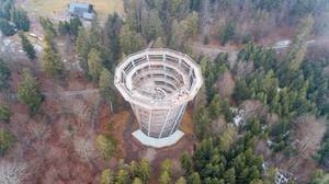 Luftbildaufnahme vom Baumwipfelpfad Bad Wildbad / Schwarzwald