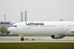 Lufthansa Airbus A340 in Munich Airport, close-up view