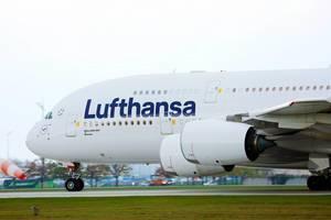 Lufthansa Airbus A380 in Munich Airport, close-up view