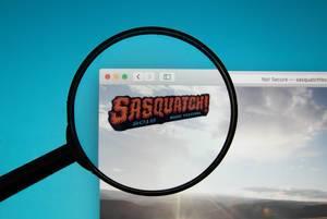Lupe betont Sasquatch-Logo auf der Internetseite des Musikfestivals auf PC-Bildschirm