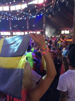 Mädchen hält die schwedische Flagge - Musikfestival Tomorrowland 2014