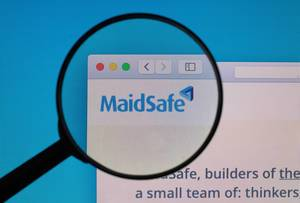MaidSafe logo under magnifying glass