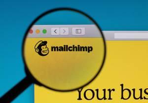 Mailchimp Schriftzug und Logo mit Affenkopf, vergrößert durch eine Lupe dargestellt