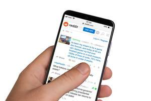 Male hands holding smartphone with an open Reddit application