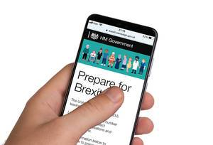 Male hands holding smartphone with an open website of Brexit campaign