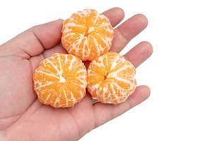 Mandarines in the hand above white background