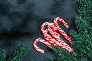 Many Christmas candy canes with Christmas tree branches on a black background