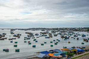 Many Fishing Boats in the Harbour of Mui Ne, Vietnam  Flip 2019