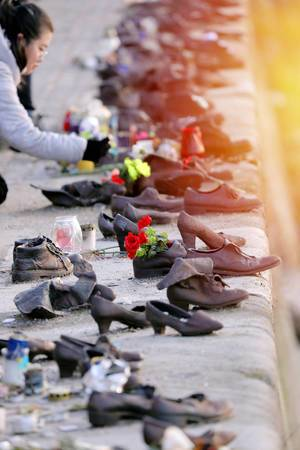 Many shoes on Danube bank, memorial in Budapest