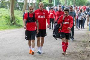 Marcel Risse, Frederik Sørensen und Milos Jojic nach dem Training