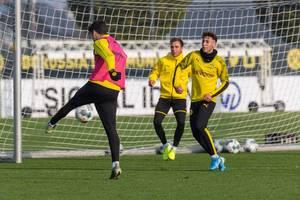 Mario Götze versucht sich im Tor im Training von Borussia Dortmund