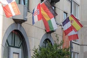 Martins Central Park hotel with colorful flags in Brussels, Belgium