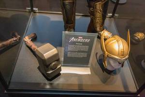 Marvel Avengers Thor costume with hammer and golden helmet, exhibited at the German games fair Gamescom in Cologne