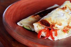 Mashed Potato Quesadillas with zucchini and red bell peppers