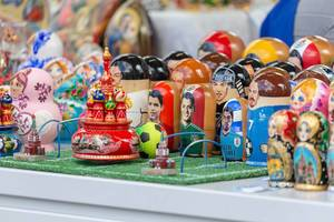 Matryoshka dolls with faces of world famous soccer players in a shop in Moscow