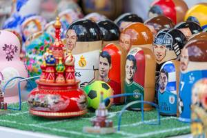 Matryoshka dolls with faces of world famous soccer players