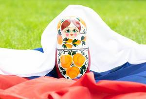 Matryoshka with Russian flag