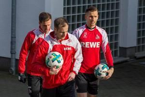 Matthias Lehmann, Simon Zoller und Paweł Olkowski vor dem Training am 30.01.2018