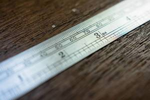 Measuring rule focused on 3 inch mark