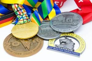 Medaillen der Major Marathons Berlin, Chicago, Boston, New York und London
