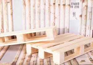 Mehrere Holzpaletten in Container zeigen Konzept von Transport und Verschiffung von Waren