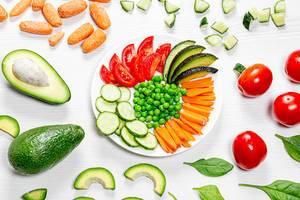 Mehrfarbiger Gemüseteller, Hintergrundbild mit Avocado, Spinat und Tomaten um einen Teller herum