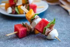 Melon, prosciutto and cheese  skewers  (Flip 2019)