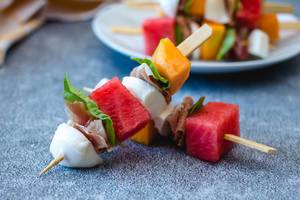 Melon, prosciutto and cheese  skewers