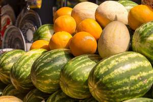 Melons and water melons at Danilovsky Market in Moscow
