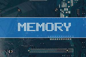 Memory text over electronic circuit board background