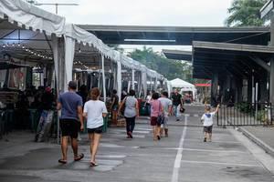 Menschen erkunden die lokalen Speisen auf einem Lebensmittelmarkt