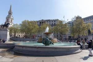Mermaid statues in Trafalgar Square, London
