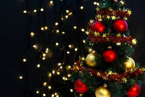 Merry Christmas and Happy New Year background with Christmas tree