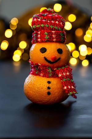 Merry Christmas snowman made from tangerines (Flip 2019)