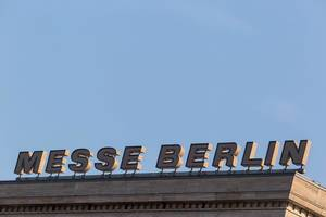 Messe Berlin sign on the fair building
