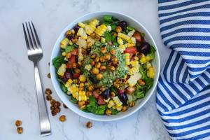 Mexican Salad with Chickpea, Corn and Tomato in a White Bowl  (Flip 2019)