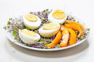 Micro-greens cabbage with boiled eggs and pieces of bell pepper (Flip 2019)