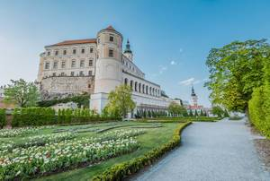 Mikulov castle with green garden